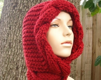 Knit Hat Womens Hat - Red Cable Scarf Hat in Red Cranberry - Red Hooded Scarf Red Knit Hat - Red Hat Red Scarf Womens Accessories