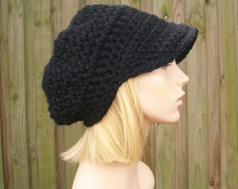 Crochet Hat Womens Hat Black Newsboy Hat - Crochet Newsboy Hat in Black - Black Hat Black Beanie Womens Accessories