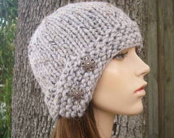 Grey Womens Hat - Grey Cloche Hat Marble Tweed Grey Knit Hat - Grey Hat Grey Beanie Womens Accessories Fall Fashion Winter Hat