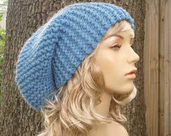 Knit Hat Blue Womens Hat Blue Slouchy Beanie - Blue Slouchy Hat in Sky Blue Knit Hat - Blue Hat Blue Beanie Womens Accessories Winter Hat