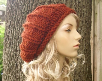 Knit Hat Orange Womens Hat - Rolled Brim Ribbed Beret Hat in Rust Orange Knit Hat - Orange Hat Orange Beret Orange Beanie Womens Accessories
