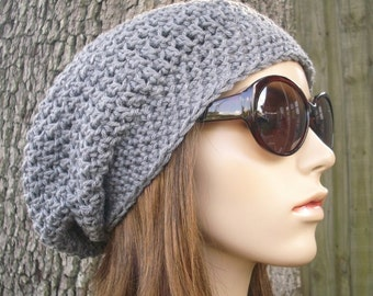 Crochet Hat Womens Hat Slouchy Beanie Grey Hat Grey Beanie - Weekender Slouchy Hat Heather Grey Crochet Hat - Womens Accessories Winter Hat