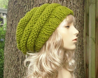 Womens Hat Slouchy Beanie Green Hat Green Beret - Oversized Beehive Beret Hat Lemongrass Green Knit Hat - Womens Accessories