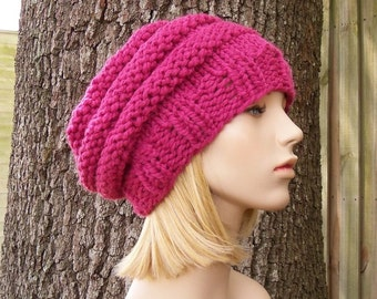 Knit Hat Womens Hat Slouchy Beanie - Original Beehive Beret in Raspberry Pink Knit Hat - Pink Hat Pink Beret Womens Accessories