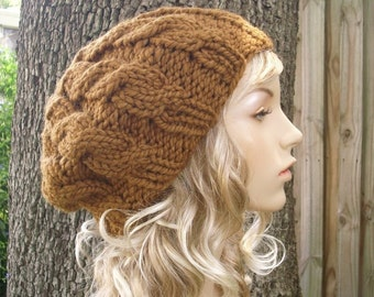 Knit Hat Womens Hat - Brown Cable Beret Hat in Hazelnut Brown Knit Hat - Brown Hat Brown Beanie Brown Beret Womens Accessories