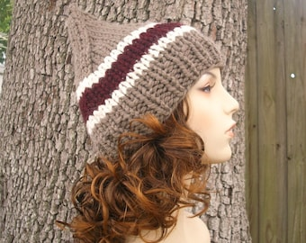 Knit Hat Womens Hat - Brown Gnome Hat in Handsome Traveler Knit Hat - Brown Hat Taupe Hat Womens Accessories Winter Hat
