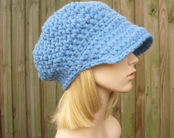 Crochet Hat Womens Hat Newsboy Hat - Crochet Newsboy Hat in Sky Blue Crochet Hat - Slouchy Blue Hat Womens Accessories