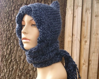 Blue Womens Hat - Blue Cable Scarf Hat in Twist Blue - Blue Hooded Scarf Blue Knit Hat - Blue Hat Blue Hood Blue Scarf Womens Accessories