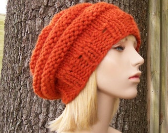 Orange Womens Hat - Original Beehive Beret Pumpkin Orange Knit Hat - Orange Hat Orange Beret Orange Beanie Womens Accessories Fall Fashion