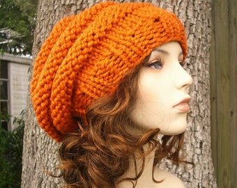Knit Hat Womens Hat Slouchy Beanie - Oversized Beehive Beret Hat in Pumpkin Orange Knit Hat Orange Hat Womens Accessories