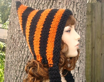 Knit Hat Womens Hat - Pixie Hat in All Hallows Eve Black and Orange Knit Hat - Womens Accessories Winter Hat