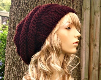 Knit Hat Womens Hat Slouchy Beanie - Original Beehive Beret Hat in Oxblood Wine Knit Hat - Burgundy Hat Red Hat Red Beret Womens Accessories