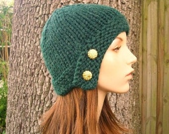 Knit Hat Womens Hat - Cloche Hat in Pine Green Knit Hat - Green Hat Green Beanie Green Cloche Womens Accessories Winter Hat