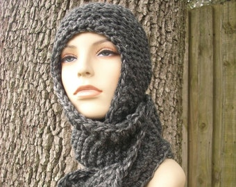 Knit Hat Womens Hat Knit Scarf Hat Ear Flap Hat - Garter Nomad Scarf Hat in Granite Grey Knit Hat - Grey Scarf Grey Hat Womens