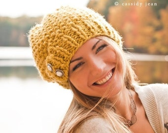 Womens Chunky Knit Hat Seed Beret Citron Yellow Slouchy Beanie - Womens Accessories Fall Fashion Winter Hat