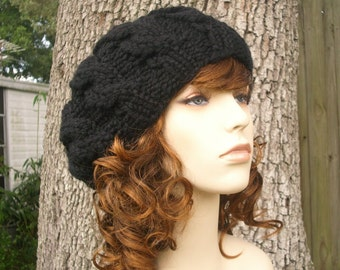 Knit Hat Womens Hat Black Slouchy Beanie - Black Cable Beret Hat in Black Knit Hat - Black Hat Black Beret Black Beanie Womens Accessories