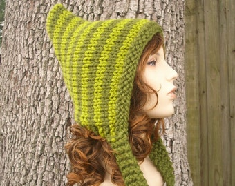 Knit Hat Womens Hat - Pixie Hat in Olive Green and Lemongrass Green Knit Hat - Green Hat Green Pixie Hat Womens Accessories Winter Hat