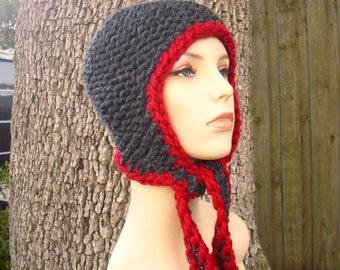 Knit Hat Womens Hat - Garter Ear Flap Hat Charcoal Grey Knit Hat - Grey Hat Grey Beanie Grey Ear Flap Hat Womens Accessories Winter Hat