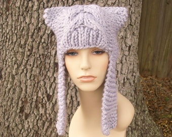 Knit Hat Grey Womens Hat - Dragon Slayer Grey Ear Flap Hat in Pewter Grey Knit Hat - Grey Hat Womens Accessories Winter Hat