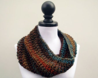 Crocheted Cowl Scarf - Hamptons Cowl Scarf in Chocolate Peacock - Brown Scarf Brown Cowl Rust Cowl Teal Cowl Womens Accessories