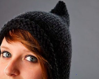 Knit Hat Womens Hat - Black Pixie Hat Black Knit Hat - Black Hat Black Ear Flap Hat Womens Accessories Winter Hat