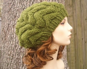 Olive Green Horseshoe Cable Beret Chunky Knit Hat Womens Hat - Green Hat Green Beret Green Beanie Womens Accessories