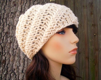 Cream Womens Hat - Swirl Beanie Cream Knit Hat - Cream Hat Cream Beanie Womens Accessories Winter Hat