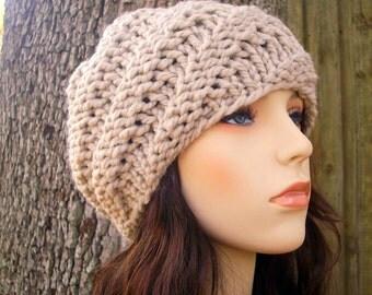Knit Hat Linen Cream Womens Hat - Swirl Beanie in Linen Cream Knit Hat - Cream Hat Cream Beanie Linen Hat Womens Accessories Winter Hat