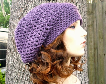 Womens Hat Slouchy Beanie - Weekender Slouchy Hat in Dusty Purple Crochet Hat - Purple Hat Purple Beanie Womens Accessories Winter Hat