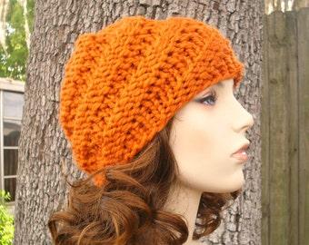 Knit Hat Womens Hat - Swirl Beanie in Pumpkin Orange Knit Hat - Orange Hat Orange Beanie Womens Accessories Winter Hat