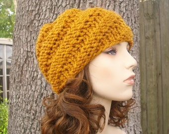 Mustard Womens Hat - Swirl Beanie Mustard Yellow Knit Hat - Mustard Hat Mustard Beanie Yellow Hat Womens Accessories Winter Hat
