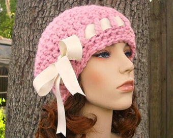 Crochet Hat Pink Womens Hat - Escargot Beret in Pink Crochet Hat - Pink Hat Pink Beret Pink Beanie Womens Accessories