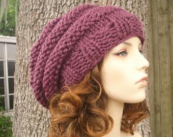 Knit Hat Purple Womens Hat Slouchy Beanie - Oversized Beehive Beret Hat in Fig Purple Knit Hat - Purple Hat Purple Beret Womens Accessories