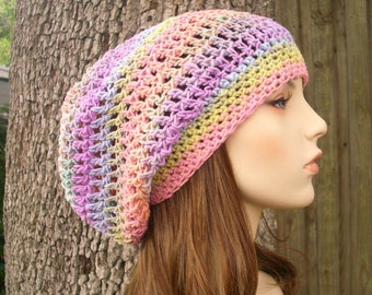 Womens Hat Pink Slouchy Beanie - Weekender Slouchy Hat Pastel Rainbow Crochet Hat Pink Hat Pink Beanie Womens Accessories Winter Hat