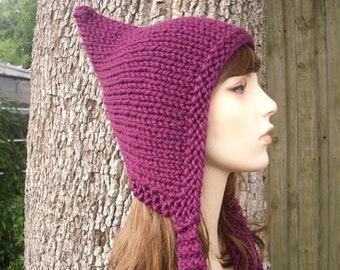 Purple Womens Hat - Purple Pixie Hat Red Violet Purple Knit Hat - Purple Hat Womens Accessories Fall Fashion Winter Hat