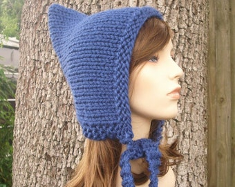 Knit Hat Blue Womens Hat - Pixie Hat in Sapphire Blue Knit Hat - Blue Hat Blue Pixie Hat Womens Accessories Winter Hat