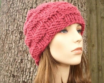 Pink Womens Hat - Basket Weave Beanie in Raspberry Pink Knit Hat - Pink Hat Pink Beanie Womens Accessories Winter Hat