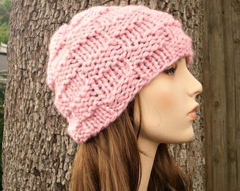 Knit Hat Pink Womens Hat - Basket Weave Beanie in Blossom Pink Knit Hat - Pink Hat Pink Beanie Womens Accessories Winter Hat