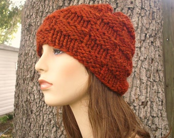 Knit Hat Womens Hat - Basketweave Beanie in Rust Burnt Orange Knit Hat - Rust Hat Rust Beanie Orange Hat Womens Accessories Winter Hat