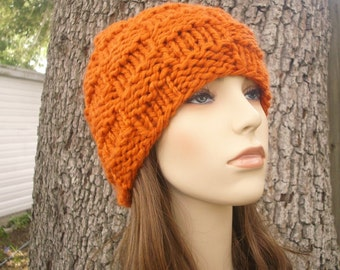 Knit Hat Orange Womens Hat - Basket Weave Beanie in Pumpkin Orange Knit Hat - Orange Hat Orange Beanie Womens Accessories Winter Hat