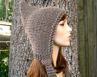 Knit Hat Womens Hat - Taupe Pixie Hat in Taupe Brown Knit Hat - Brown Hat Womens Accessories Winter Hat