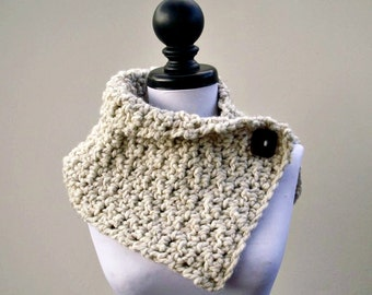Crocheted Cowl Scarf - Lucienne Cowl in Wheat Cream Cowl - Wheat Cowl Wheat Scarf Cream Cowl Cream Scarf Womens Accessories