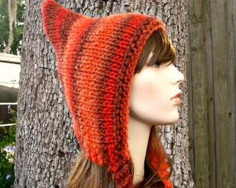 Knit Hat Womens Hat - Orange Pixie Hat in Sunset Orange Knit Hat - Orange Hat Chunky Knit Hat Womens Accessories Fall Fashion Winter Hat