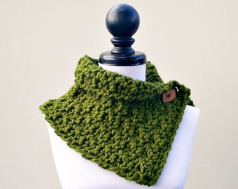 Crocheted Cowl Scarf - Lucienne Cowl in Olive Green - Olive Green Cowl, Olive Green Scarf, Womens Accessories Fall Fashion
