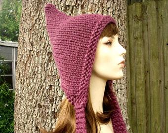 Knit Hat Womens Hat - Purple Pixie Hat in Fig Purple Knit Hat - Purple Hat Purple Ear Flap Hat Womens Accessories Winter Hat