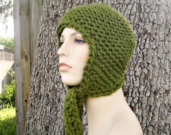 Knit Hat Green Womens Hat - Garter Ear Flap Hat in Olive Green Knit Hat - Green Hat Green Ear Flap Hat Womens Accessories Winter Hat