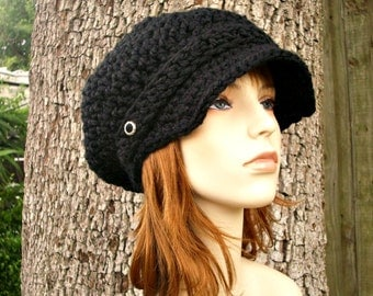 Black Newsboy Hat Black Crochet Hat Black Womens Hat - Crochet Newsboy Hat - Black Hat Black Beanie Womens Accessories