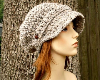Crochet Hat Womens Hat Grey Hat Grey Newsboy Hat - Crochet Newsboy Hat in Grey Marble Tweed Crochet Hat - Grey Beanie Womens Accessories