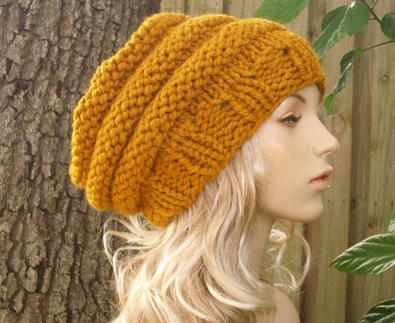 Hand Knit Hat - Oversized Beehive Beret Hat in Mustard Yellow