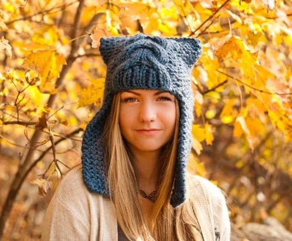 Womens Ear Hat Chunky Knit Cable Beanie Denim Blue Ear Flap Hat  - Dragon Slayer - Womens Accessories Winter Hat